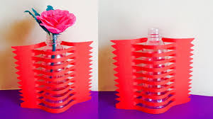 recycled craft flower vase with paper and plastic bottle best