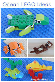 ocean lego projects to build sea turtle crab otter and fish