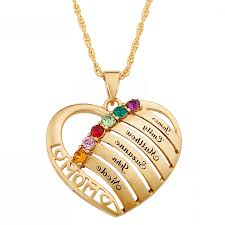 birthstone pendants for engraved heart family birthstone necklace for ksvhs jewellery
