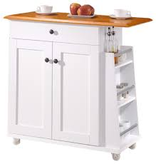 kitchen trolleys and islands balmore 2 tone white and brown lacquered wood kitchen cart