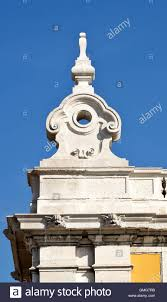 detail of the corner decorations of the classical buildings on