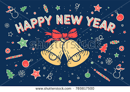 happy new year post card happy new year greeting card bell stock vector 751228336