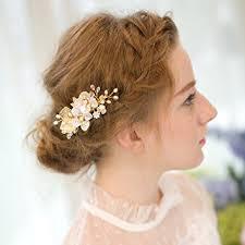 bridal hair clip remedios shell flower gold leaf wedding hair clip