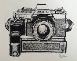 pointillism drawing of minolta xg m camera