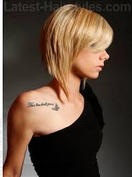 mid length hair cuts longer in front swooped shorty blonde side swept bangs style long front pieces
