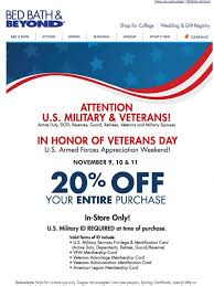 20 Off Coupon Bed Bath And Beyond Bed Bath And Beyond U S Military U0026 Veterans 20 Off Entire