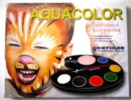 kryolan aquacolor artist 6 color tray with brush and sponge face