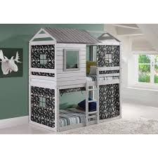 loft style bed donco kids loft style light grey twin over twin bunk bed with