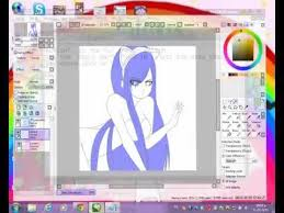 tutorial simple anime hair coloring painting paint tool sai for