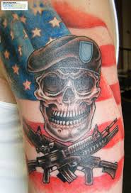 American Flag Skull Stunning Military Designed Tattoo With Soldier Skull And American