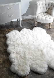 Fuzzy White Chair Decor White Fur Rug With Beige Tufted Chair And Dresser For Home