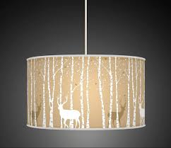 Fabric Pendant Light by Stag Deer Trees Handmade Lampshade Printed Fabric Pendant Light