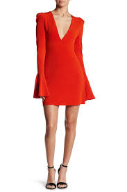 free people bell sleeve solid dress in red lyst