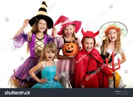free halloween red hair witch images on white background five happy children halloween costumes witches stock photo