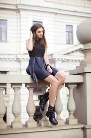 skater dress biker boots street style biker fashion photo shared