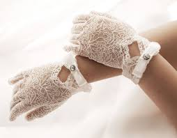 romantik lace gloves for communion and wedding flower