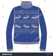 warm blue color winter warm sweater handmade svitshot jumper stock vector