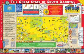 south dakota map with cities gallopade international the south dakota experience poster map