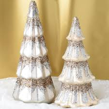 set of 2 mercury glass sparkling trees robertson