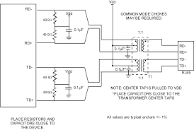 component isolation transformer schematic rj45 connector with
