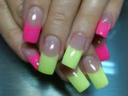 neon pink nail designs neon pink and yellow internal acrylic