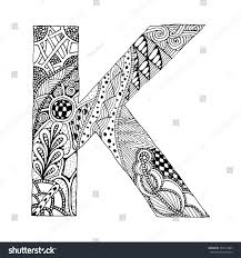 zentangle stylized alphabet letter k doodle stock vector 458114887