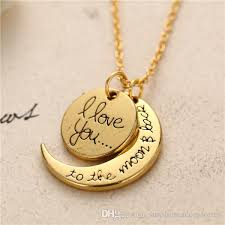 love you gold necklace images Wholesale 2018 top fashion i love you to the moon and back jpg