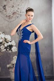 new style royal blue chiffon beaded pageant dress evening gown