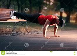 Bench Press Ups Fitness Man Doing A Bench Press Up Outside Stock Photo Image