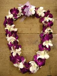 flower leis 3 white and purple dendrobium orchids leis beautiful leis