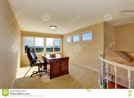 upstairs home office interior design in yellow tones stock photo