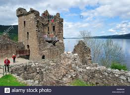 the ruins of urquhart castle beside loch ness near drumnadrochit
