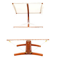 outsunny 2 person backyard wooden hammock swing stand with sun