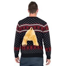 sweater with black 3d sweater with stuffed moose