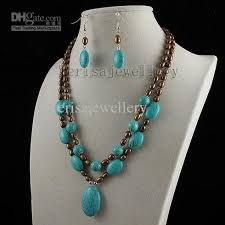 blue turquoise pendant necklace images 2018 turquoise brown pearl pendant necklace earring fashion jpg
