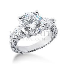 antique moissanite trillion sides engagement ring - Moissanite Vintage Engagement Rings