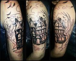 half sleeve arm tattoos 11 haunted house half sleeve tattoos
