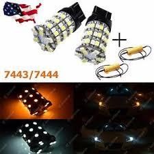 2x dual color 7443 60 smd led turn signal light bulbs load