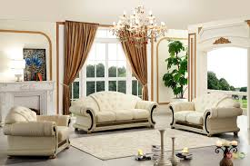 Furniture Set For Living Room by Versace Cleopatra Cream Italian Top Grain Leather Beige Living