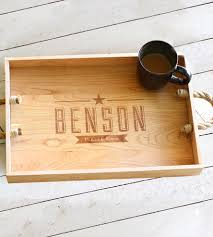 personalized photo serving tray custom family name wooden serving tray home kitchen pantry