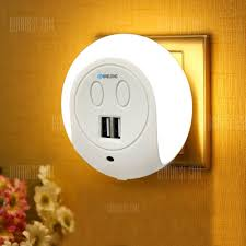 led night light with sensor brelong led night light dual usb port wall charger light sensor 2a