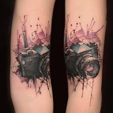 camera tattoo watercolor leg tattoo on tattoochief com