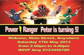 colors free mighty morphin power ranger birthday invitations