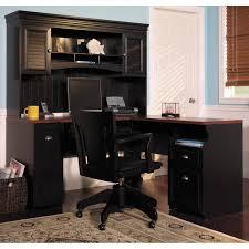 Wooden Desks For Home Office by Corner Black Wooden Desk With Dark Brown Wooden Top And Shelves