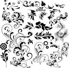 black floral ornaments illustration vector 01 vector floral