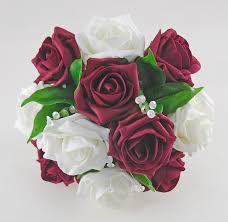 burgundy roses bridesmaids ivory burgundy spray wedding posy