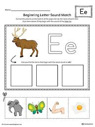 short letter e beginning sound picture match worksheet color