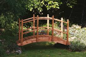 wooden garden bridge ornament decorative feature teak stained for