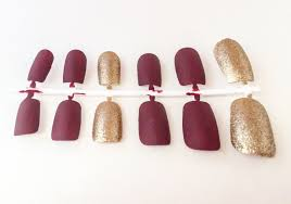 matte fake nail set red false nails gold acrylic nails