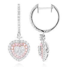 pink diamond earrings unique luxurman drop earrings white pink diamond heart earrings